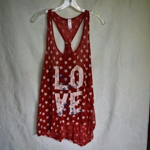 Red white blue LOVE racerback tank, sheer, size L